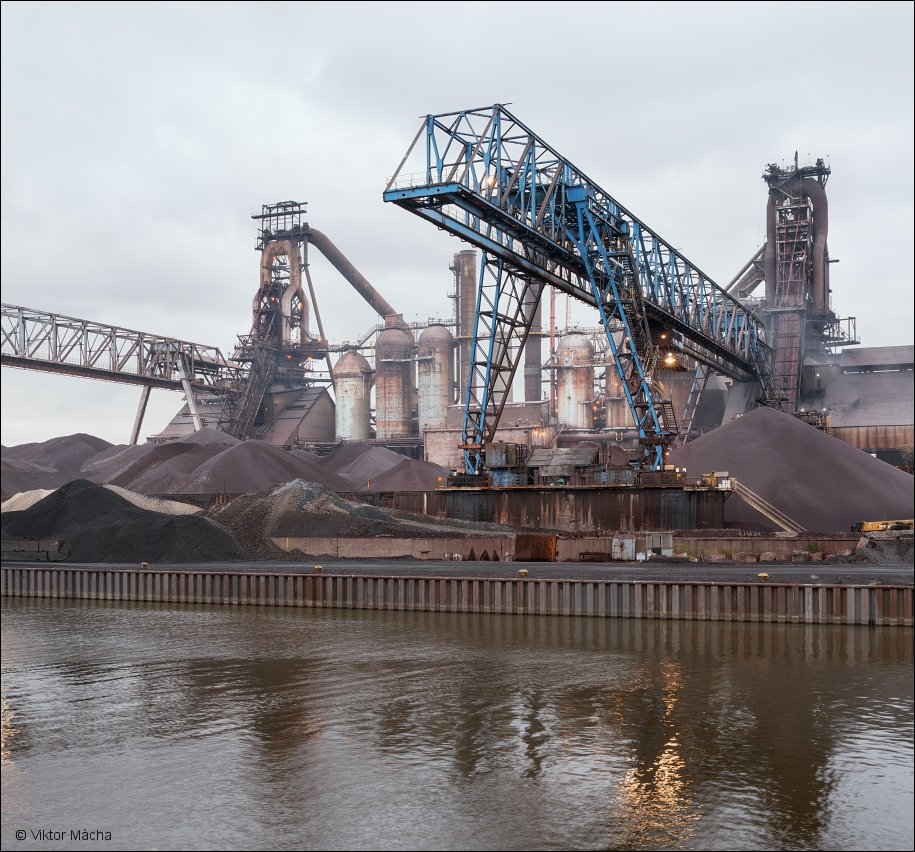 ArcelorMittal Cleveland, blast furnaces with raw material storage