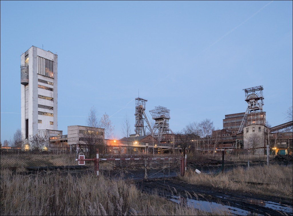 kwk Centrum-Bytom, the colliery during twilight