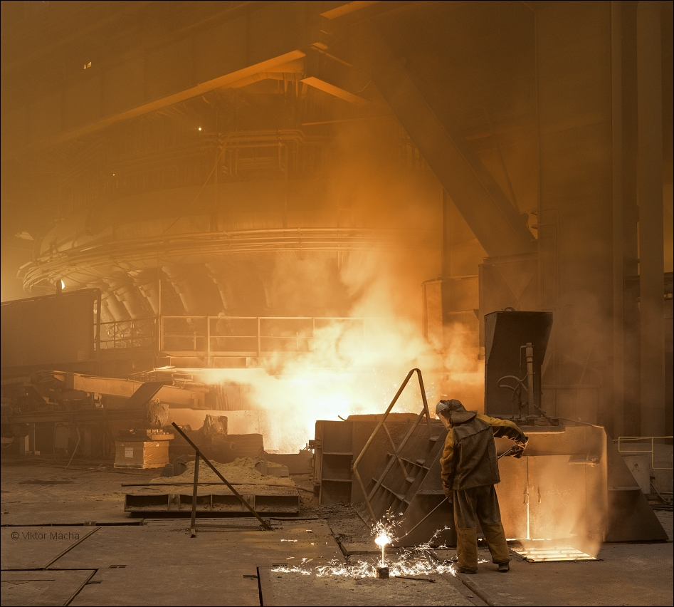 NLMK Lipetsk, taking a sample at blast furnace no.7