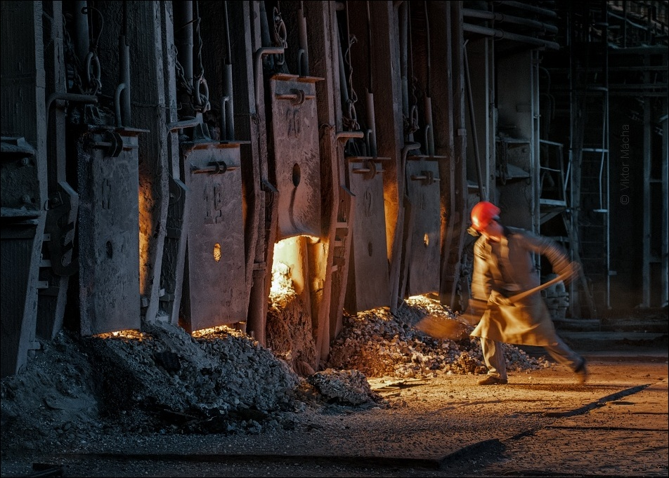 work at the open-hearth steelworks, Donetskstal