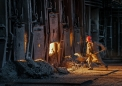 work at the open-hearth steelworks...