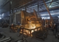 SCB Foundry, tapping the 8 t arc furnace
